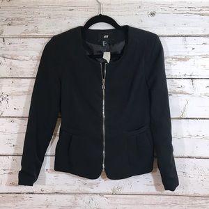 Black H&M black zipper blazer NWT